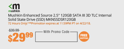 "Mushkin Enhanced Source 2.5"" 120GB SATA III 3D TLC Internal Solid State Drive (SSD) MKNSSDSR120GB"