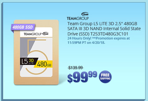 "Team Group L5 LITE 3D 2.5"" 480GB SATA III 3D NAND Internal Solid State Drive (SSD) T253TD480G3C101"