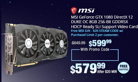 MSI GeForce GTX 1080 DirectX 12 DUKE OC 8GB 256-Bit GDDR5X HDCP Ready SLI Support Video Card