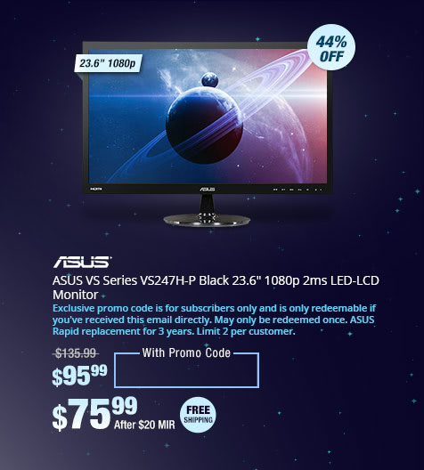 "ASUS VS Series VS247H-P Black 23.6"" 1080p 2ms LED-LCD Monitor"
