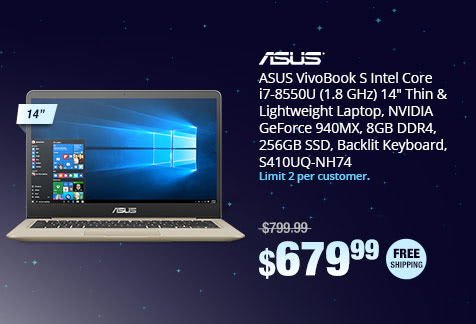 "ASUS VivoBook S Intel Core i7-8550U (1.8 GHz) 14"" Thin & Lightweight Laptop, NVIDIA GeForce 940MX, 8GB DDR4, 256GB SSD, Backlit Keyboard, S410UQ-NH74"