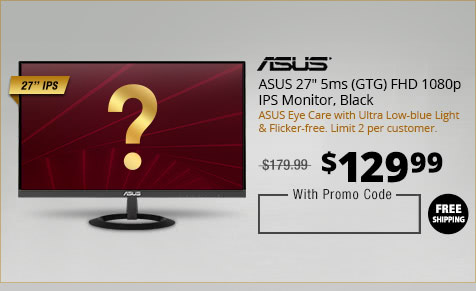 "ASUS 27"" 5ms (GTG) FHD 1080p IPS Monitor, Black"