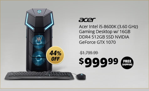 Acer Intel i5-8600K (3.60 GHz) Gaming Desktop w/ 16GB DDR4 512GB SSD NVIDIA GeForce GTX 1070