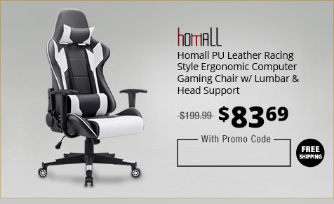 Homall PU Leather Racing Style Ergonomic Computer Gaming Chair w/ Lumbar & Head Support