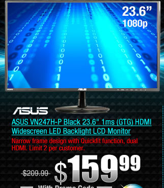 ASUS VN247H-P Black 23.6 inch 1ms (GTG) HDMI Widescreen LED Backlight LCD Monitor