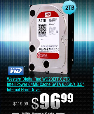 Western Digital Red WD20EFRX 2TB IntelliPower 64MB Cache SATA 6.0Gb/s 3.5 inch Internal Hard Drive