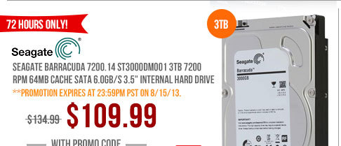 Seagate Barracuda 7200.14 ST3000DM001 3TB 7200 RPM 64MB Cache SATA 6.0Gb/s 3.5 inch Internal Hard Drive