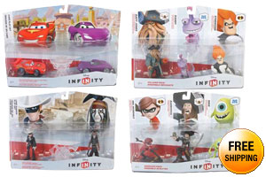Disney Infinity Playset Pack: Cars, Lone Rangers + Figure 3 Pack: Sidekicks, Villains