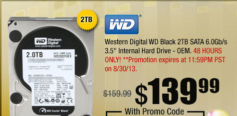 "Western Digital WD Black 2TB SATA 6.0Gb/s 3.5"" Internal Hard Drive - OEM"