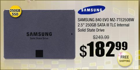 "SAMSUNG 840 EVO MZ-7TE250BW 2.5"" 250GB SATA III TLC Internal Solid State Drive"