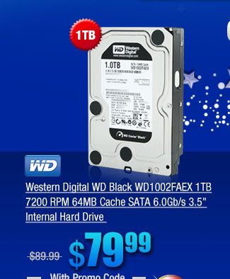 Western Digital WD Black WD1002FAEX 1TB 7200 RPM 64MB Cache SATA 6.0Gb/s 3.5 inch Internal Hard Drive