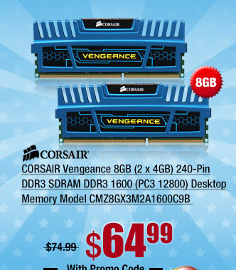 CORSAIR Vengeance 8GB (2 x 4GB) 240-Pin DDR3 SDRAM DDR3 1600 (PC3 12800) Desktop Memory
