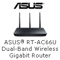 ASUS RT-AC66U Dual-Band Wireless Gigabit Router.