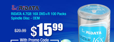 RiDATA 4.7GB 16X DVD+R 100 Packs Spindle Disc - OEM