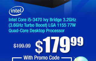 Intel Core i5-3470 Ivy Bridge 3.2GHz (3.6GHz Turbo Boost) LGA 1155 77W Quad-Core Desktop Processor