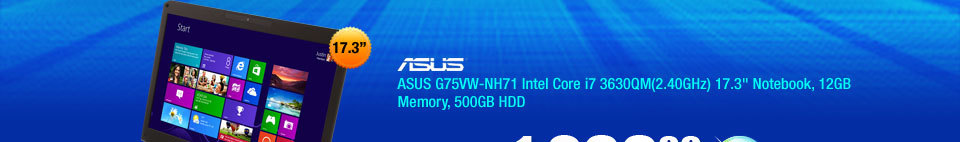"ASUS G75VW-NH71 Intel Core i7 3630QM(2.40GHz) 17.3"" Notebook, 12GB Memory, 500GB HDD"