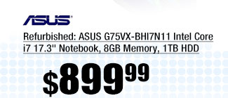 "Refurbished: ASUS G75VX-BHI7N11 Intel Core i7 17.3"" Notebook, 8GB Memory, 1TB HDD"