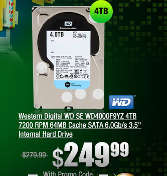 Western Digital WD SE WD4000F9YZ 4TB 7200 RPM 64MB Cache SATA 6.0Gb/s 3.5 inch Internal Hard Drive