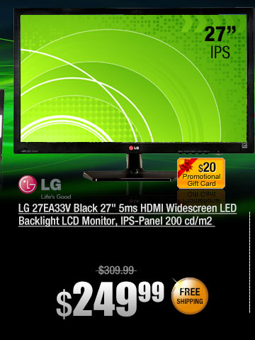 LG 27EA33V Black 27 inch 5ms HDMI Widescreen LED Backlight LCD Monitor, IPS-Panel 200 cd/m2