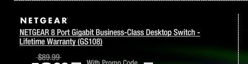 NETGEAR 8 Port Gigabit Business-Class Desktop Switch - Lifetime Warranty (GS108)