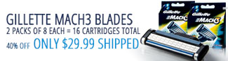 GILLETTE MACH3 BLADES. 2PACKS OF 8 EACH = 16 CARTRIDGES TOTAL. 40% OFF - ONLY $29.99 SHIPPED.