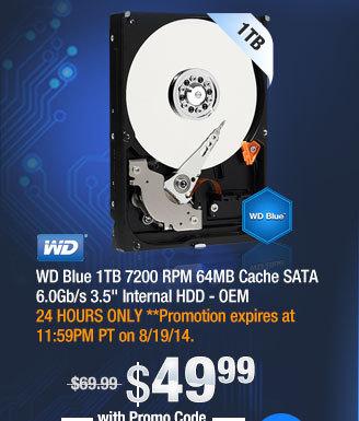 """WD Blue 1TB 7200 RPM 64MB Cache SATA 6.0Gb/s 3.5"""" Internal HDD - OEM"""
