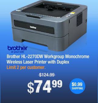 Brother HL-2270DW Workgroup Monochrome Wireless Laser Printer with Duplex