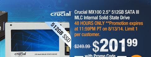 "Crucial MX100 2.5"" 512GB SATA III MLC Internal Solid State Drive"