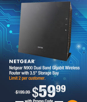 """Netgear N900 Dual Band Gigabit Wireless Router with 3.5"""" Storage Bay"""