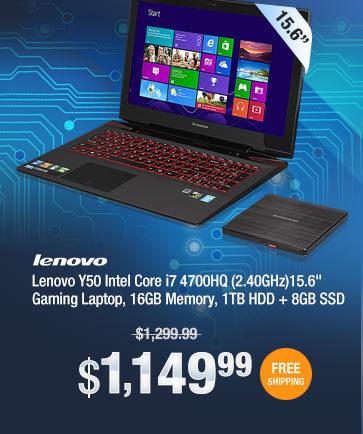 "Lenovo Y50 Intel Core i7 4700HQ (2.40GHz)15.6"" Gaming Laptop, 16GB Memory, 1TB HDD + 8GB SSD"