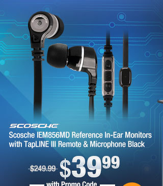 Scosche IEM856MD Reference In-Ear Monitors with TapLINE III Remote & Microphone Black
