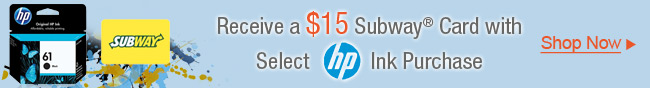 Receive A 15 Subway Card With Select HP Ink Purchase.
