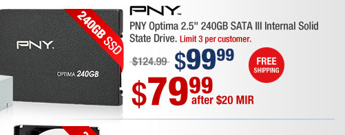"PNY Optima 2.5"" 240GB SATA III Internal Solid State Drive"