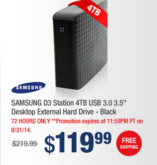 "SAMSUNG D3 Station 4TB USB 3.0 3.5"" Desktop External Hard Drive - Black"
