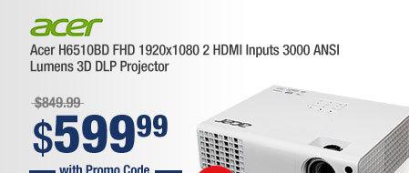 Acer H6510BD FHD 1920x1080 2 HDMI Inputs 3000 ANSI Lumens 3D DLP Projector