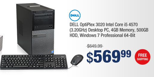 DELL OptiPlex 3020 Intel Core i5 4570 (3.20GHz) Desktop PC, 4GB Memory, 500GB HDD, Windows 7 Professional 64-Bit