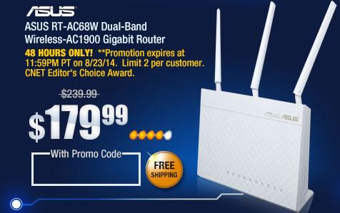 ASUS RT-AC68U Wireless-AC1900 Dual Band Gigabit Router IEEE 802.11ac, IEEE 802.11a/b/g/n