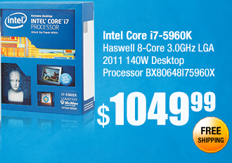 Intel Core i7-5960K Haswell 8-Core 3.0GHz LGA 2011 140W Desktop Processor BX80648I75960X