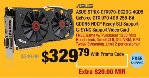 ASUS STRIX-GTX970-DC2OC-4GD5 GeForce GTX 970 4GB 256-Bit GDDR5 HDCP Ready SLI Support G-SYNC Support Video Card
