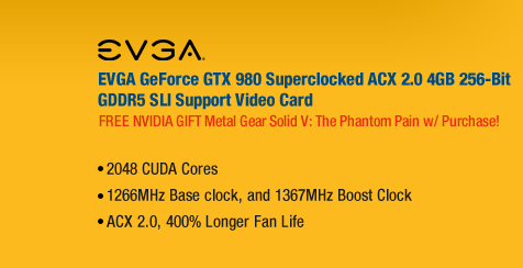 EVGA GeForce GTX 980 Superclocked ACX 2.0 4GB 256-Bit GDDR5 SLI Support Video Card