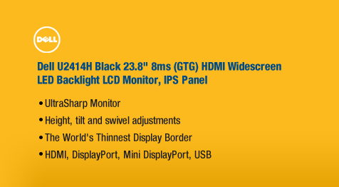 "Dell U2414H Black 23.8"" 8ms (GTG) HDMI Widescreen LED Backlight LCD Monitor, IPS Panel"