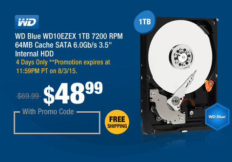 "WD Blue WD10EZEX 1TB 7200 RPM 64MB Cache SATA 6.0Gb/s 3.5"" Internal HDD"