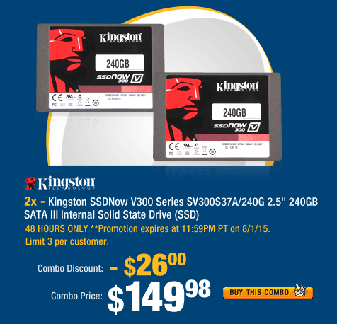 "Combo: 2x - Kingston SSDNow V300 Series SV300S37A/240G 2.5"" 240GB SATA III Internal Solid State Drive (SSD)"