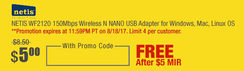 NETIS WF2120 150Mbps Wireless N NANO USB Adapter for Windows, Mac, Linux OS