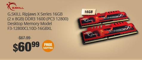 G.SKILL Ripjaws X Series 16GB (2 x 8GB) DDR3 1600 (PC3 12800) Desktop Memory Model F3-12800CL10D-16GBXL