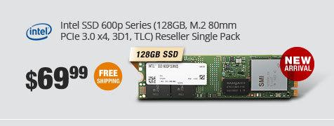 Intel SSD 600p Series (128GB, M.2 80mm PCIe 3.0 x4, 3D1, TLC) Reseller Single Pack