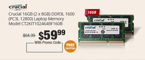Crucial 16GB (2 x 8G) DDR3L 1600 (PC3L 12800) Laptop Memory Model CT2KIT102464BF160B
