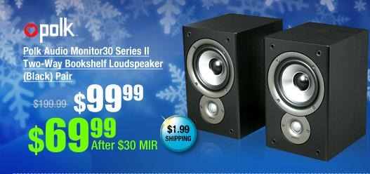 Polk Audio Monitor30 Series II Two-Way Bookshelf Loudspeaker (Black) Pair