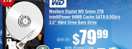 "Western Digital WD Green 2TB IntelliPower 64MB Cache SATA 6.0Gb/s 3.5"" Hard Drive Bare Drive"