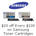 20usd off every 100usd on samsung toner cartridges.